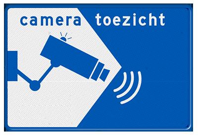 bordje met de tekst: camera toezicht