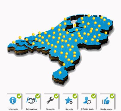 Figuurlijke afbeelding van Nederland met ca 100 speldenknoppen, die moeten aangeven waar een IT PROdealer is gevestigd in Nederland