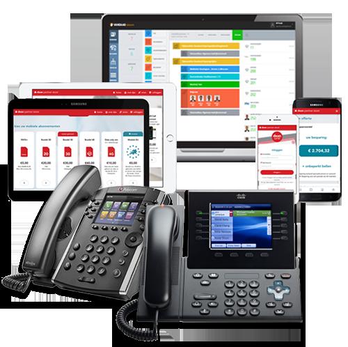 afbeelding van een aantal VOIP telefoontoestellen en computerschermen met daarop informatieve software voor VOIPtoestellen